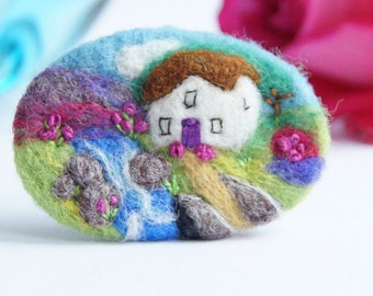 River Cottage brooch, landscape art, wool, mothers valantine gift, Needle felted brooch, gift for her, landscape pin IWANTCRAFT