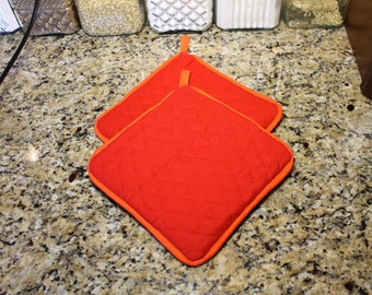 Red Pot Holders 300+ color combos - Thick - Great gift for Xmas/Birthday/Anniversary/Wedding/Housewarming! - Gifts under 20