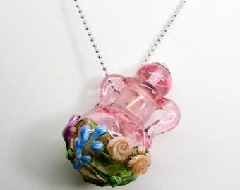 Garden Pink German Glass Handmade Essential Oil Vessel Bead Necklace