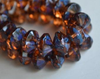 6 Dark Amber Czech Picasso Saucer Beads 7x11mm (794-6)
