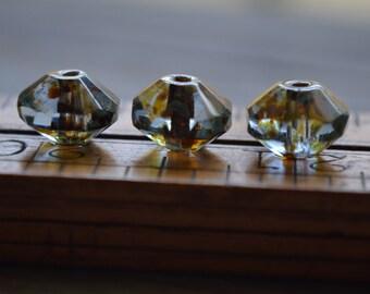 6 Light Sapphire Czech Picasso Saucer Beads 7x11mm (793-6)
