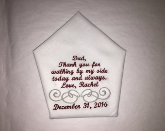 Father of the bride handkerchief (25 word limit only)