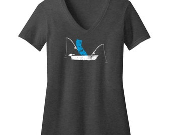 California Fishing Fitted V-Neck