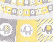 Yellow and grey elephants baby shower bunting banner. Digital bunting banner to decor your baby shower - Printable PDF file.