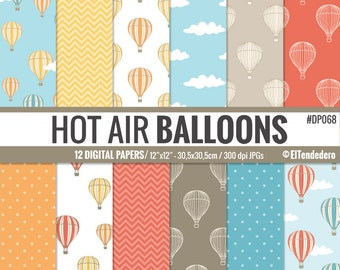 """Hot air balloon digital paper pack """"Hot air balloons"""" with hot air balloon backgrounds, to use card making, scrapbooking..."""