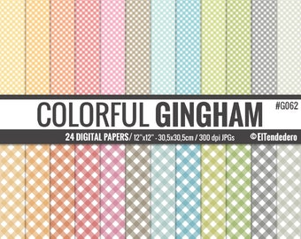 30% OFF!! Gingham digital paper package - Digital papers with colorful checkered backgrounds, to use in scrapbooking, card making...