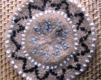 Alpaca Hand Knitted Beret Size XL
