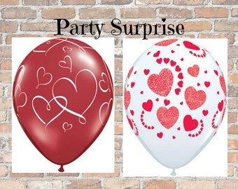 Heart Balloons Valentine Hearts Red and White Balloons Romantic Love Wedding Engagement I Love You Proposal Heart Balloons