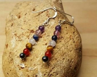 Sterling silver Gemstone Chakra earrings. 7 Chakra Pendant. Wire wrap Reiki jewelry