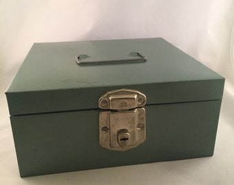 Vintage Green Metal File Box With Month Divider Cards