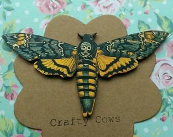 Death head moth brooch large Death head moth statement badge. Large hawk moth brooch moth butterfly jewellery