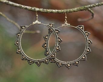 Macrame earrings STARS tribal hippie gypsy boho festival