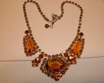 Vintage Marked Austrian Topaz Rhinestone Necklace