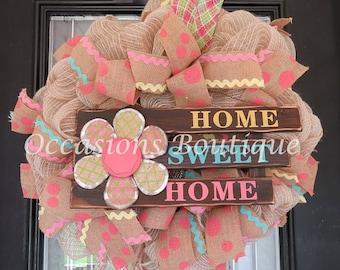 ON SALE! Burlap Wreath, Summer Wreath, Spring Wreath, Door Hanger, Wreath for door, Ready to Ship
