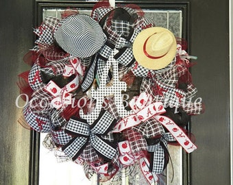 XL Alabama Football Wreath- Alabama Door Hanger-Deco Mesh Wreath-Roll Tide, Pre-Order