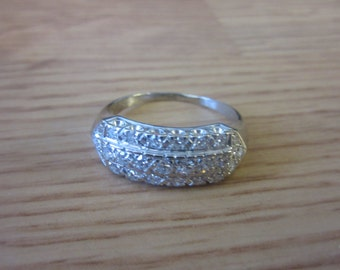 Antique 1920s Diamond 14K White Gold Wide Band Ring .8ct