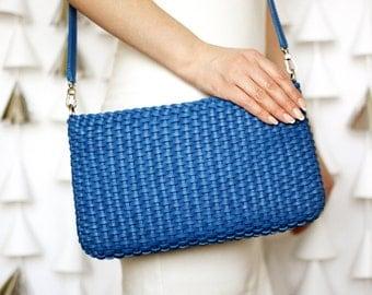 Leather bag, blue bag, crossbody bag, blue leather bag, blue purse, blue handbag, braided bag, woman bag, blue crossbody, blue handbag