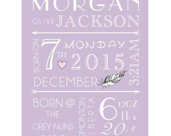 custom Baby name Art • Baby Stats • Nursery Art • Personalized Baby Name Decor • Name Art • Personalized Nursery Decor • New Baby Gift