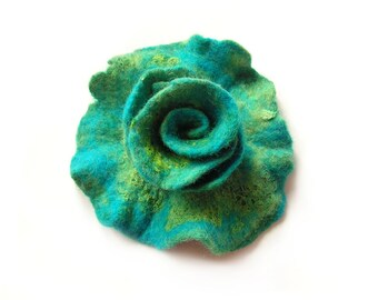 Felted flower brooch  felt flower brooch green turquoise flower felt wool floral brooch merino wool brooch spring boho gift OOAK