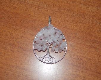 Silver and rose quartz tree of life pendant