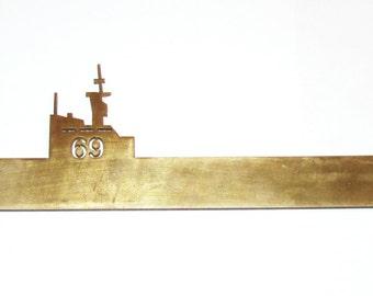 Vintage Handmade USS Dwight Eisenhower CVN 69 Aircraft Carrier Brass Ship
