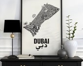 Dubai Typographic Map Screen Print