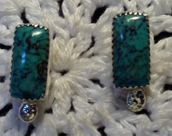 Turquoise with Black Matrix Stud Earrings