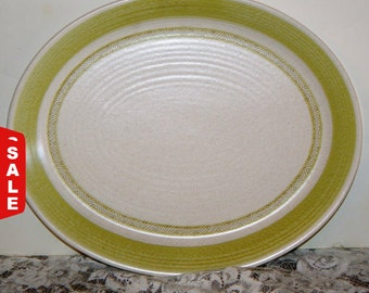 Franciscan Hacienda Green Oval Serving Platter,Tray, Earthenware Pattern:Green Inner Rings 1960 - Discountinued 1960s - 1970s,
