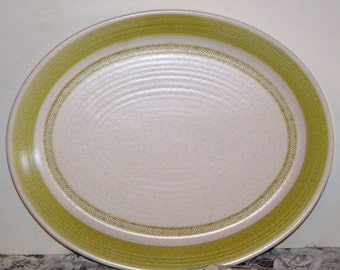 Platter, Franciscan Hacienda Green Oval Serving Platter, Tray, Earthenware Pattern:Green Inner Rings 1960 - Discountinued 1960s - 1970s,
