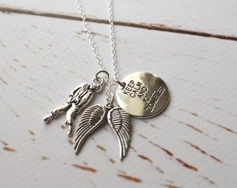 Zombie necklace/ The Walking Dead charm jewellery/ Silver Walker necklace