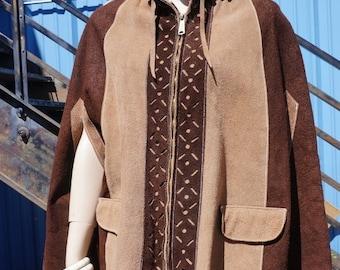 Boho Cape / 70s Hippie Leather Cape Coat, 60s Mod Coat, 60s Boho Hippie Suede Poncho, Leather Cape, Suede Cape, Fringed Coat, Hippie Gypsy