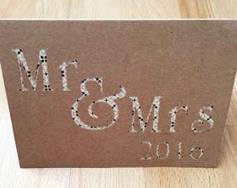 Mr & Mrs 2016 Brown Karft Wedding Card