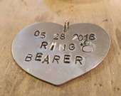 Dog ring bearer tag. Ring bearer gift. Personalized pet wedding jewelry. Personalized dog tag