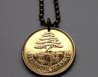 1952 or 1961 Lebanon 25 Qirshā Piastres coin pendant necklace jewelry cedar tree Lebanese Liban middle east Arab cedar tree arabic No.001042