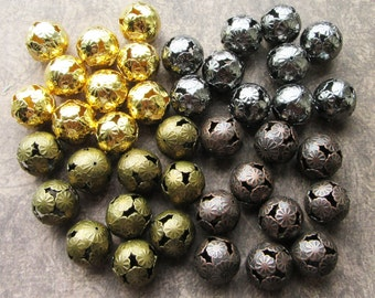 10 Large Metal Filigree Hollow Round Beads 16mm Antique Copper Bronze, Gold and Black