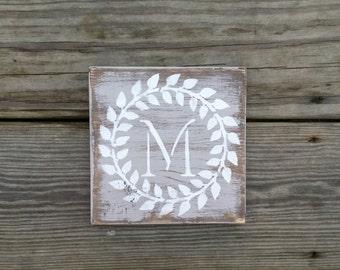 Hand Painted and Distressed Personalized Initial Block, Monogram Wooden Block, Wedding Blocks, Alphabet Blocks, Rustic Decor, Letter Block
