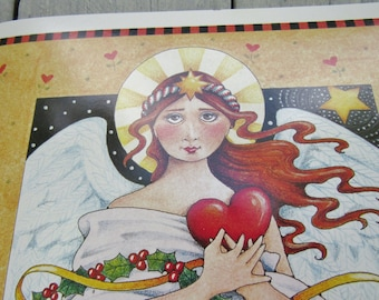 Rare Mary Engelbreit Christmas Art Work, Angel Wall decor, Mary Engelbreit wall poster, Cottage Chic Christmas decor, ME Art, Gift for child