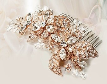 Bridal comb Rose Gold Clear Rhinestone & Crystal Flower Hair Comb