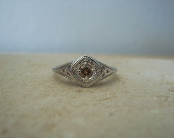 Beautiful Natural Fancy Colored Solitaire Diamond Ring in a Filigree Setting