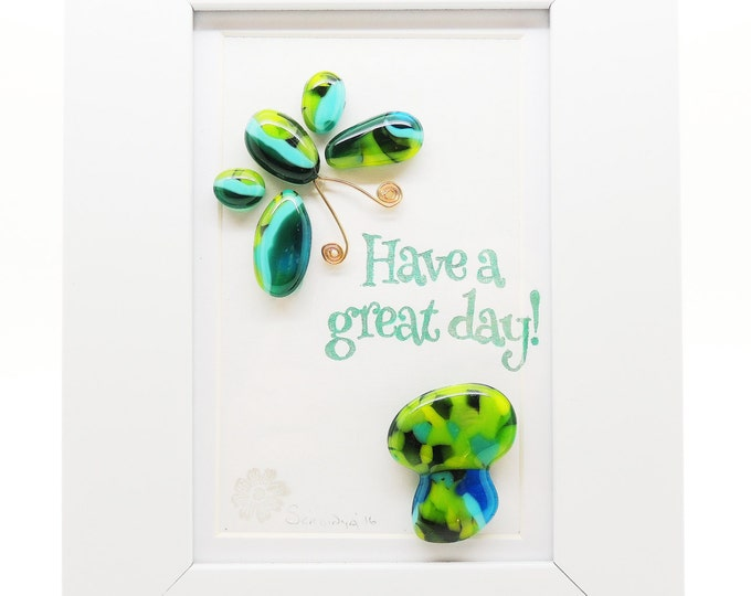 Fused glass wall art panel. Blue green butterfly and mushroom. Have a great day. handmade. Birthday housewarming, wedding anniversary gifts.