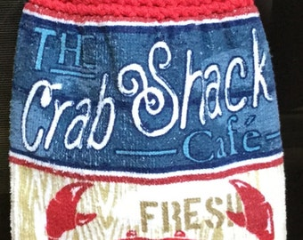 The Crab Shack Cafe Double Hanging Towel