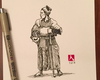 KillerBeeMoto: Pen Sketch of Samurai Posing In Kendo Armor