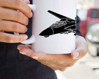 KillerBeeMoto:  U.S. Made Grumman F-14 Tomcat Fighter Jet Coffee Mug (White)