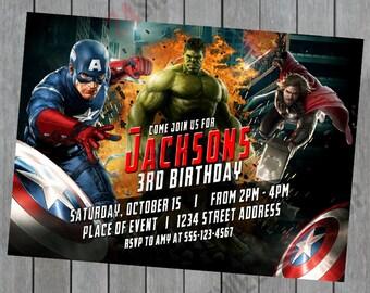 Avengers Birthday Invitation - The Hulk - Captain America - Thor -  Birthday Invitation