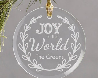 Personalized Engraved Christmas Ornament, Christmas Tree Ornament, Joy to the World