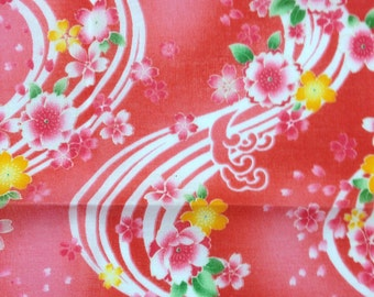 Furoshiki, Japanese small bandana, red cotton fabric, wrapping cloth, sakura tapestry, Wall Hanging, gift ideas, free shipping