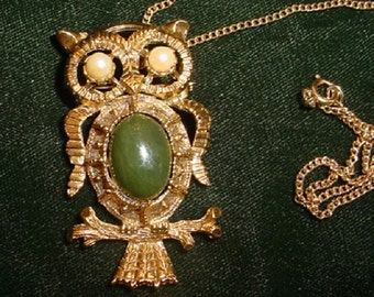 Gold Owl Brooch /Necklace with Green Cabochon Belly