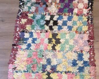 Moroccan rug boucherouite ref 057 (or boucharouette) 170 x 86 cm (5,58 x 2,82') berber tribal art