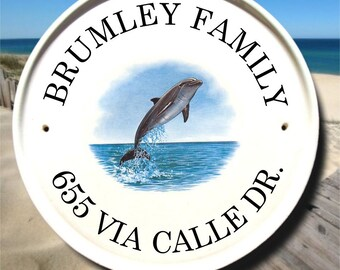 Dolphin Address Plaque / Beach House Sign / Personalized Beach Signs / Custom Outdoor Name Signs/Ceramic Gifts/Maritime