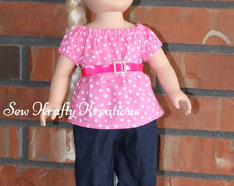 "Pink Polka Dot Shirt with Belt and Jean Capris Set for 18"" doll like American Girl"